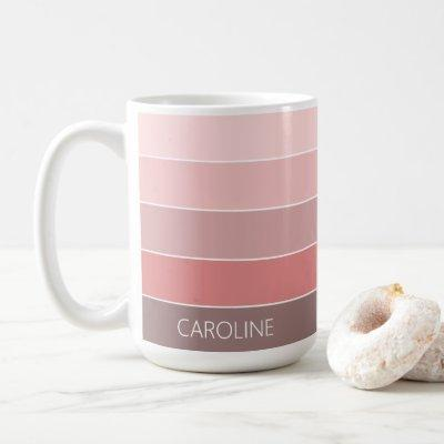 Custom Chic Pastel Blush Pink Stripes Art Pattern Coffee Mug