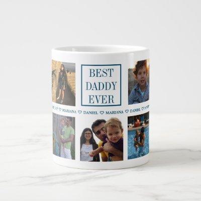 Custom Daddy Father's Day Photo Collage Giant Coffee Mug