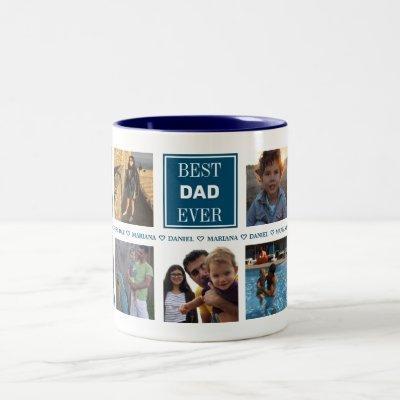 Custom Daddy Father's Day Photo Collage Two-Tone Coffee Mug