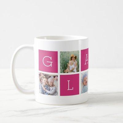 "Custom ""Glamma"" Grandmother Photo Collage Coffee Mug"
