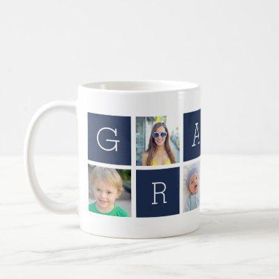 Custom Grampa Grandfather Photo Collage Coffee Mug