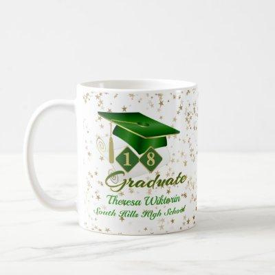 Custom Green Gold Graduation Stars 20XX Coffee Mug