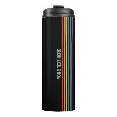 Custom LGBT Rainbow Striped Gay Pride Thermal Tumbler