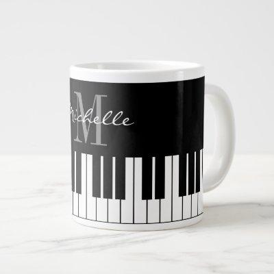 Custom monogram large jumbo mug for piano player