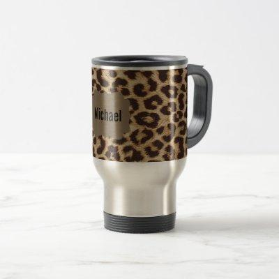 Custom Monogram Leopard Print Travel Mug