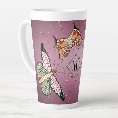 Custom Monogram Purple Glitter Latte Mug