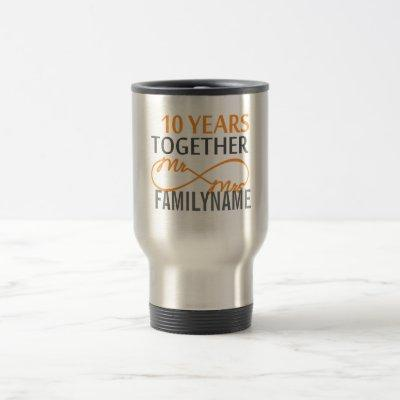 Custom Mr and Mrs 10th Anniversary Travel Mug