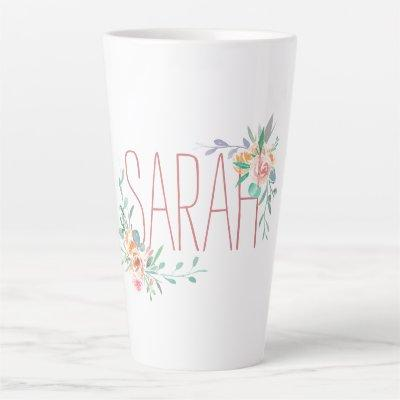 Custom Name And Floral Coral And Green Latte Mug