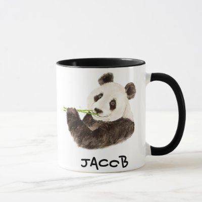 Custom Name Cute Panda  Watercolor Animal Mug