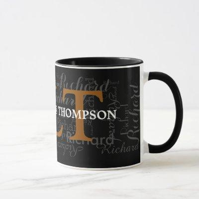 custom name & initials personalized typography mug