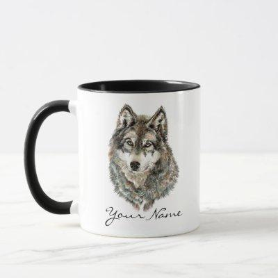 Custom Name or Text Wolf watercolor Animal Mug