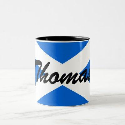 Custom Name Scottish Flag Two-Tone Mug arc