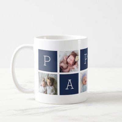Custom Pappou Grandfather Photo Collage Coffee Mug