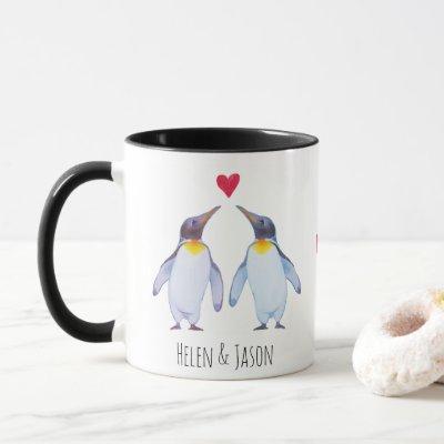Custom Penguin Couple Names Personalized Mug