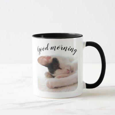 Custom Pet Photo & Quote Good Morning Personalized Mug