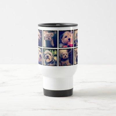 Custom Photo Collage with Square Photos Travel Mug