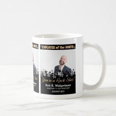 Custom photo employee of the month award rock star coffee mug