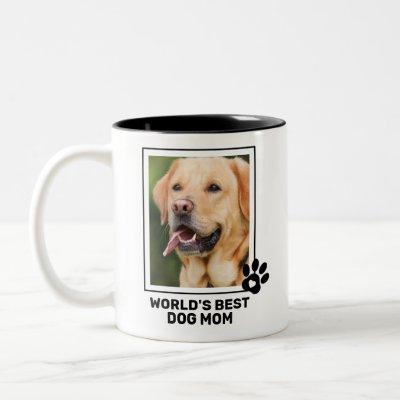 Custom Photo World Best Dog Mom Two-Tone Coffee Mug