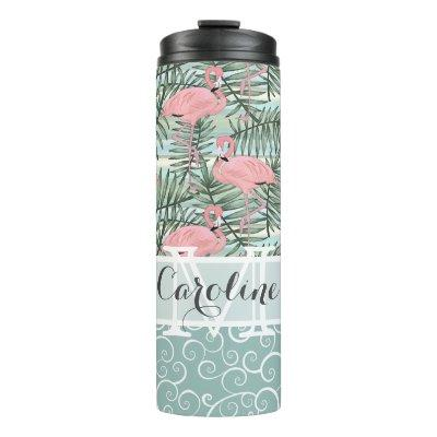 Custom Pink Flamingoes Palm Tree Leafs Art Pattern Thermal Tumbler