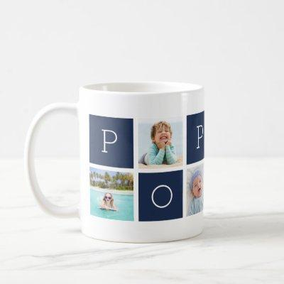Custom Poppop Grandfather Photo Collage Coffee Mug