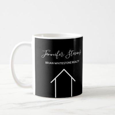 Custom Realtor Black White House Real Estate Coffee Mug
