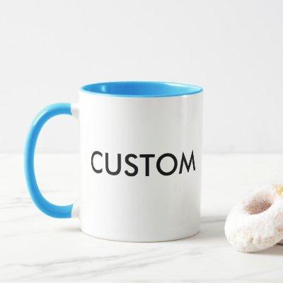 Custom Ringer 11oz Mug - LIGHT BLUE Lip & Handle