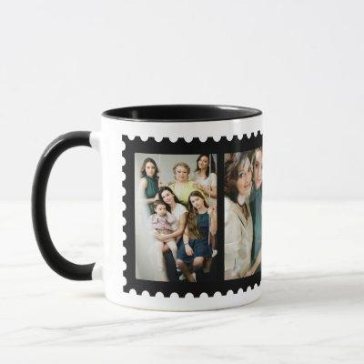Custom Stamp Frame 4 Family Photo Mug