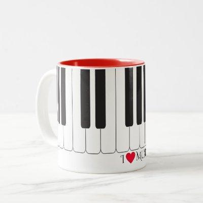 """Custom text """"I ❤️ Music"""" piano keys design Two-Tone Coffee Mug"""
