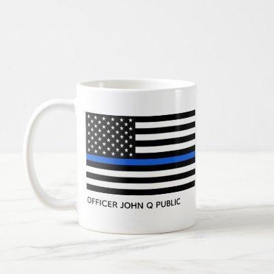 Custom Thin Blue Line American Flag Coffee Mug