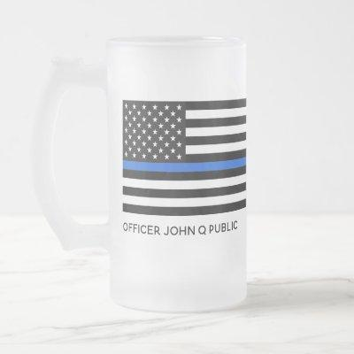 Custom Thin Blue Line American Flag Frosted Glass Beer Mug