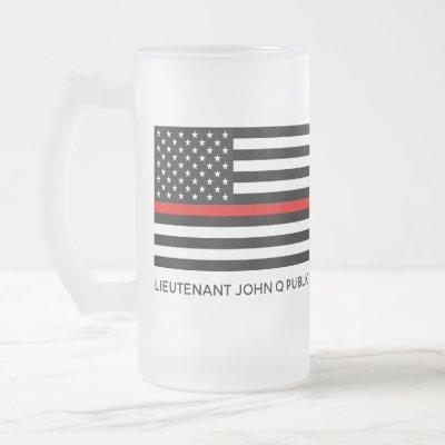 Custom Thin Red Line American Flag Frosted Glass Beer Mug