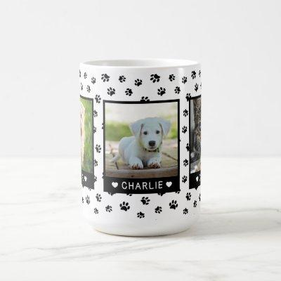 Custom Three Pet Photos Names Black Paw Prints Coffee Mug