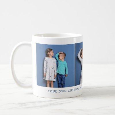 Custom Three Photo and Any Text Coffee Mug