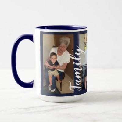 Custom Three Photo Collage   Family Love Mug