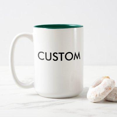 Custom Two-Tone Large 15oz Mug HUNTER GREEN Inside