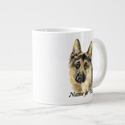 Custom Watercolor German Shepherd Pet Dog Giant Coffee Mug