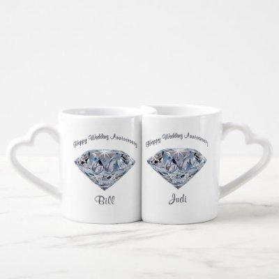 Customizable Diamond Anniversary Mug Set Your Text