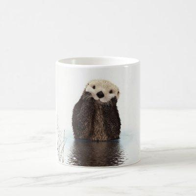 Cute adorable fluffy otter animal coffee mug