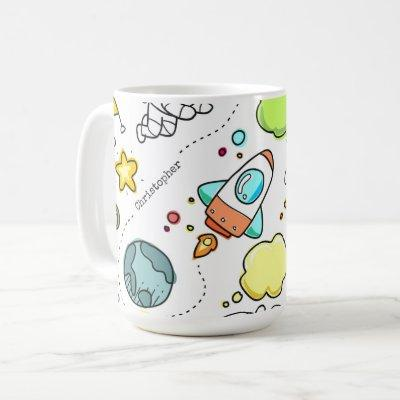 Cute Astronaut Space Rockets Custom Mug