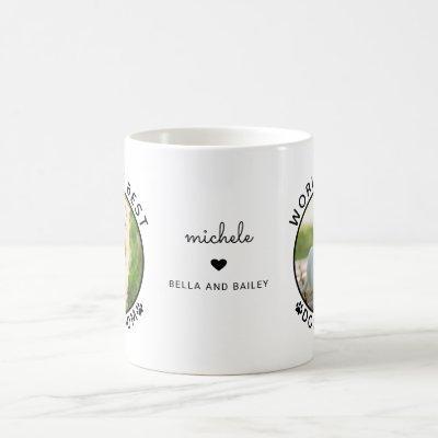 Cute Best Dog Mom Two Photo Modern Typography Coffee Mug
