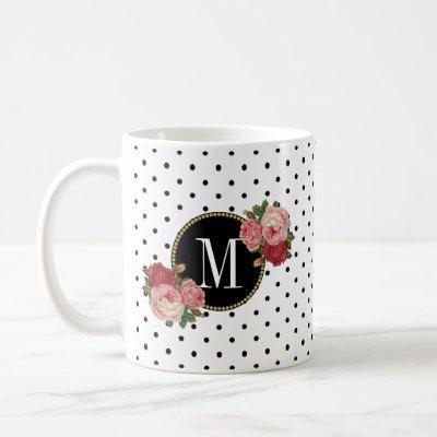 Cute Black White Dots Vintage Roses Gold Monogram Coffee Mug