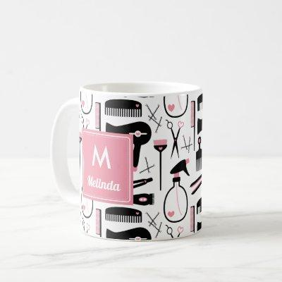 Cute Black White Hair Stylist Pattern Monogram Coffee Mug