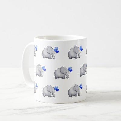 Cute Blue Baby Elephants Pattern Nursery Coffee Mug