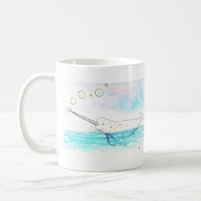 Cute Bubble-Popping Narwhal Watercolor Coffee Mug