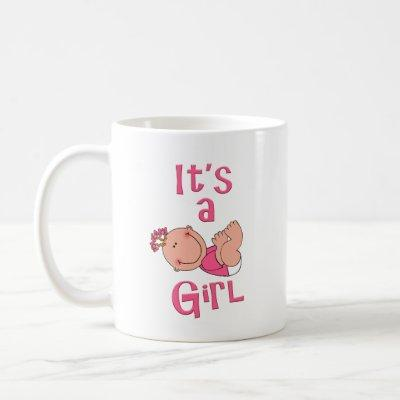 Cute Cartoon It's a Girl Text in Bright Pink - Coffee Mug