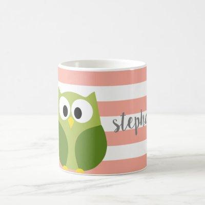 Cute Cartoon Owl - Coral & Green Name Calligraphy Coffee Mug