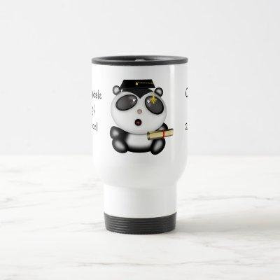 Cute Cartoon Panda Bear Graduate with Mortar Board Travel Mug