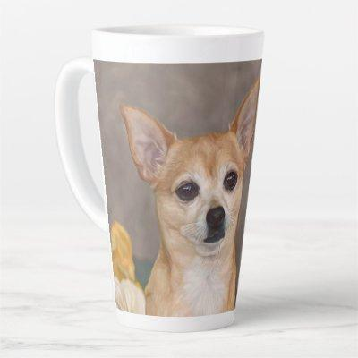 Cute Chihuahua Dog Portrait Floral Pet Design Latte Mug