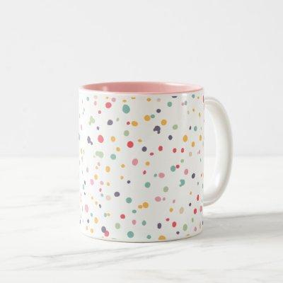 Cute Colorful Confetti Dots Pattern Two-Tone Coffee Mug