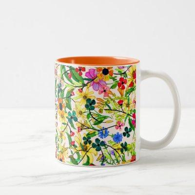 Cute colorful spring floral flowers Two-Tone coffee mug